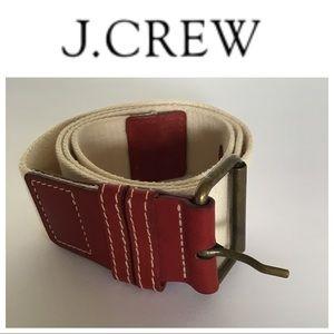 J. CREW BROWN LEATHER CREAM COTTON CANVAS BELT LG